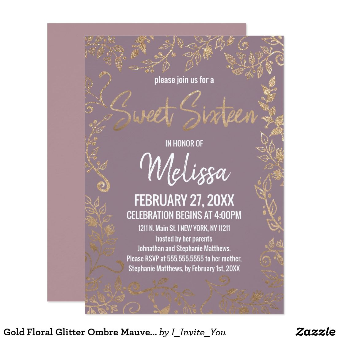 Gold Floral Glitter Ombre Mauve Lilac Sweet 16 Invitation Zazzle