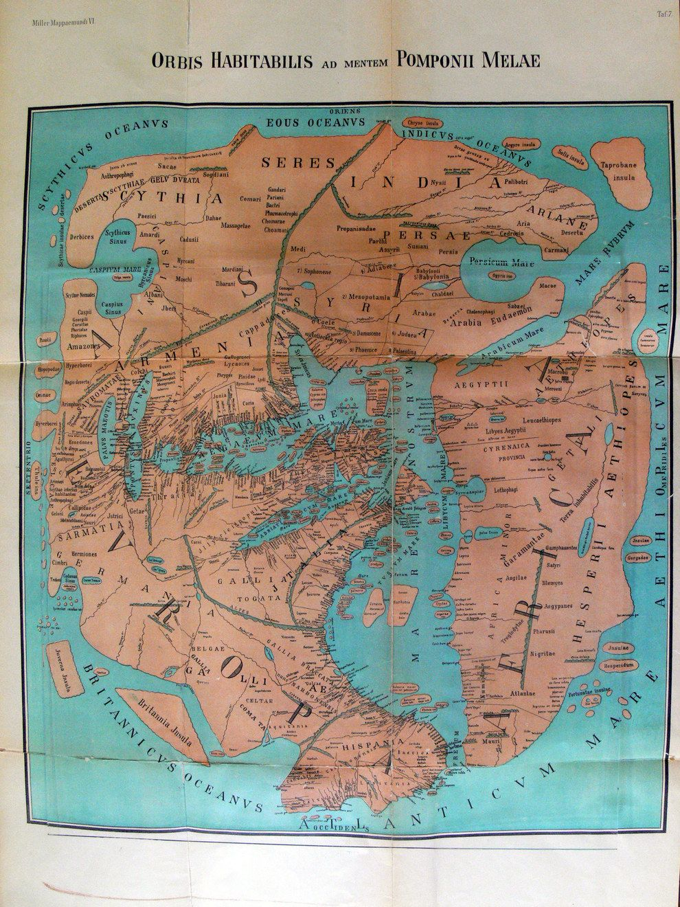 A map of the world in 43 AD a reprint of one drawn by Pomponius