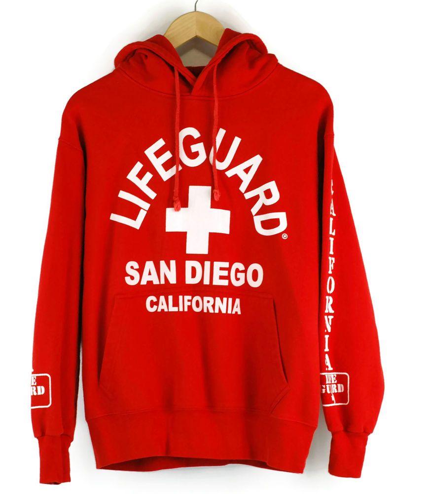 079742648c51 San Diego Lifeguard Hoodie Sweatshirt California Unisex Red S ...