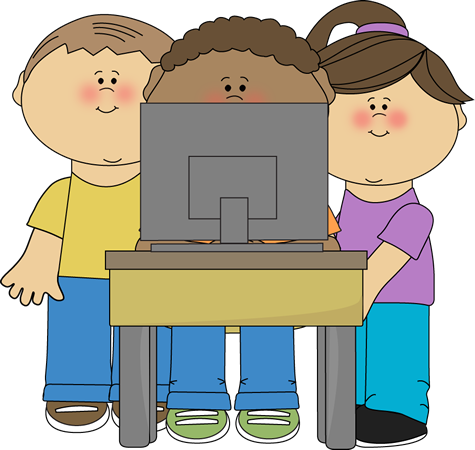 Kids using a school computer from MyCuteGraphics   School ...