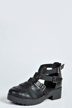 a8405a0ff9b Abbie Closed Toe Buckle Chunky Flat at boohoo.com