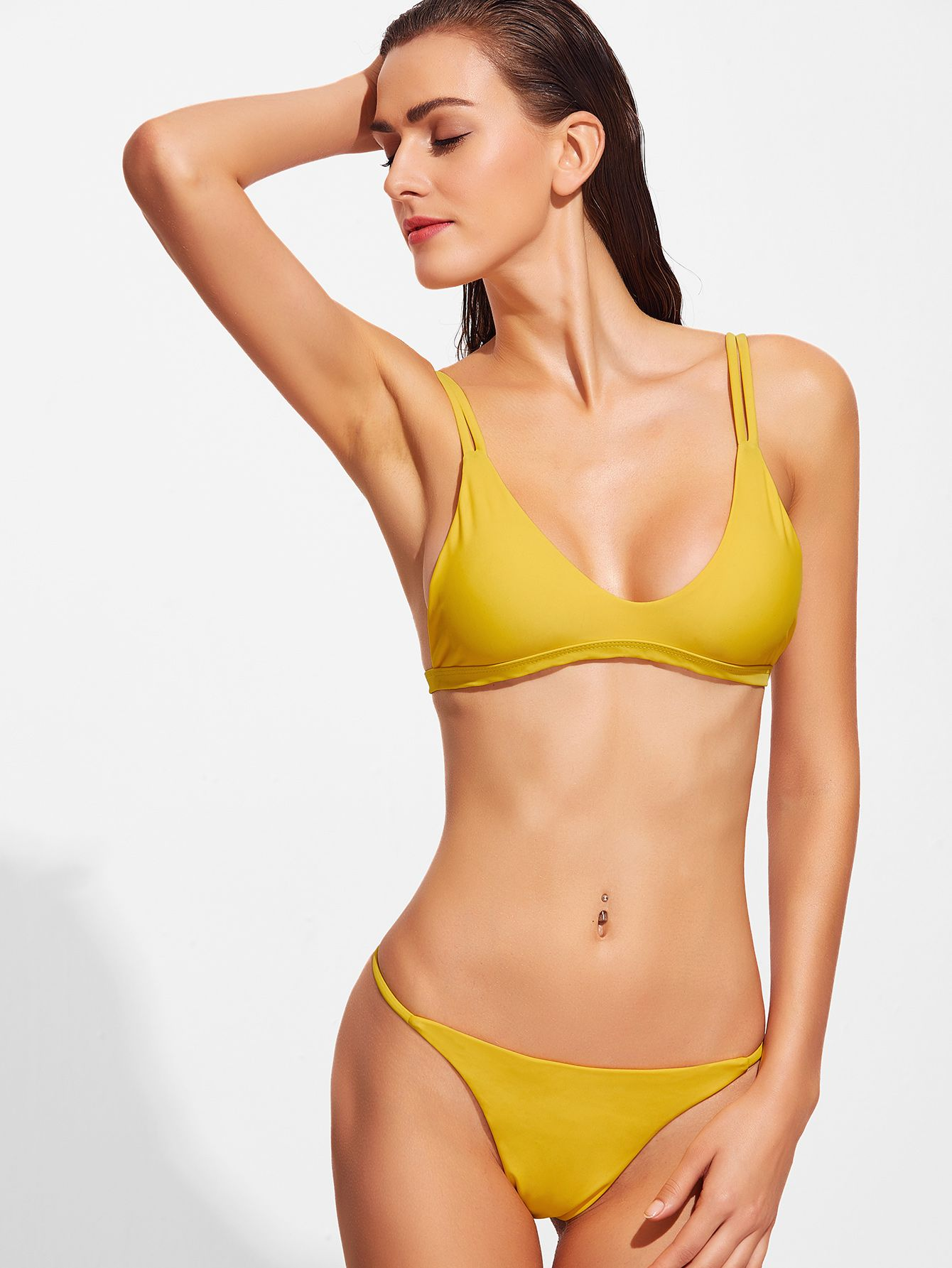 87cde9d7d6 Shop Yellow V Neck Sexy Bikini Set online. SheIn offers Yellow V Neck Sexy  Bikini Set & more to fit your fashionable needs.