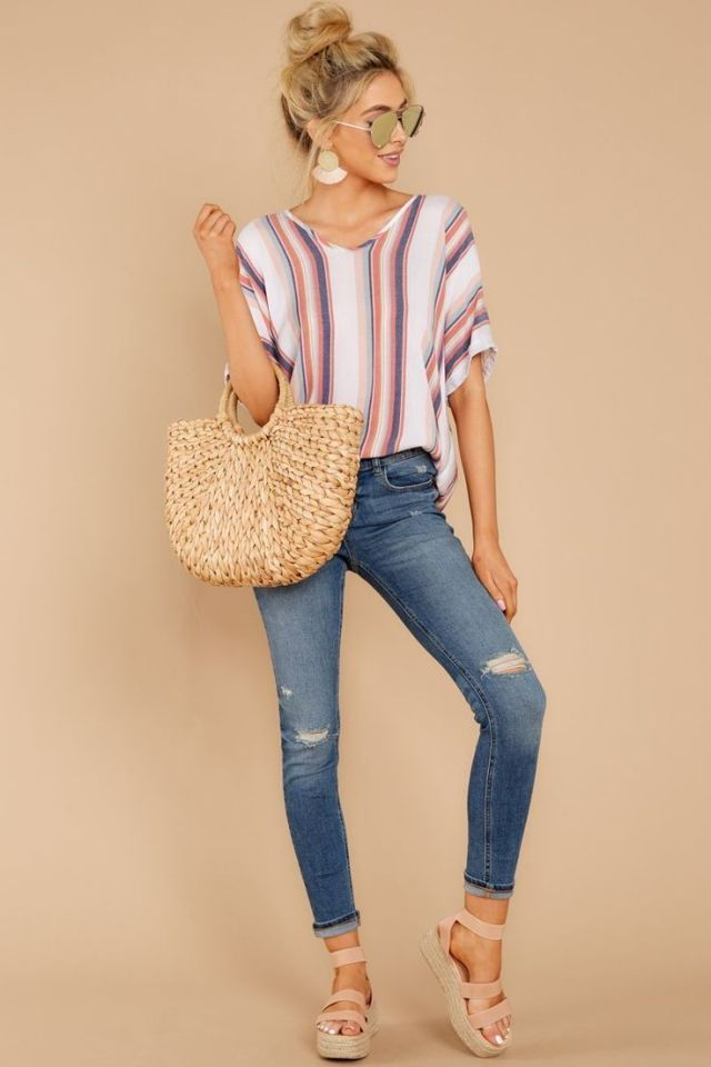 Chic Blue Striped Top With Short Sleeves Blouse 34 Red Blouse Short Sleeves S Summer Work Outfits Preppy Summer Outfits Spring Outfits Women