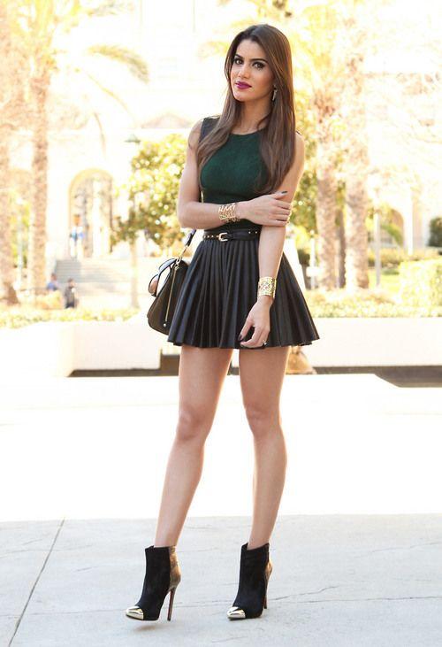 Black leather miniskirt white nylon stockings 4