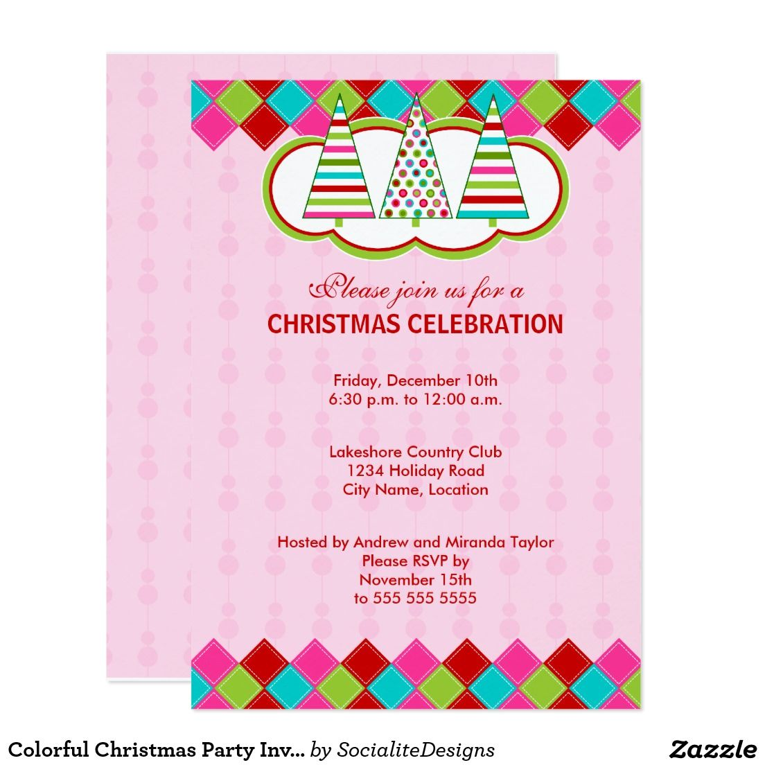 Colorful Christmas Party Invitation | Christmas Party Invitations ...
