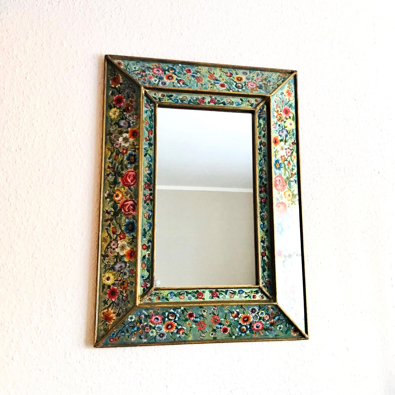 Vintage Spiegel Peru Hinterglasmalerei Wandspiegel Boho