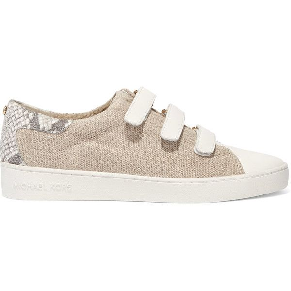 MICHAEL Michael Kors Craig leather-paneled canvas sneakers (1,800 MXN) ❤ liked on Polyvore featuring shoes, sneakers, beige, strappy shoes, canvas sneakers, velcro sneakers, round toe sneakers and leather sneakers