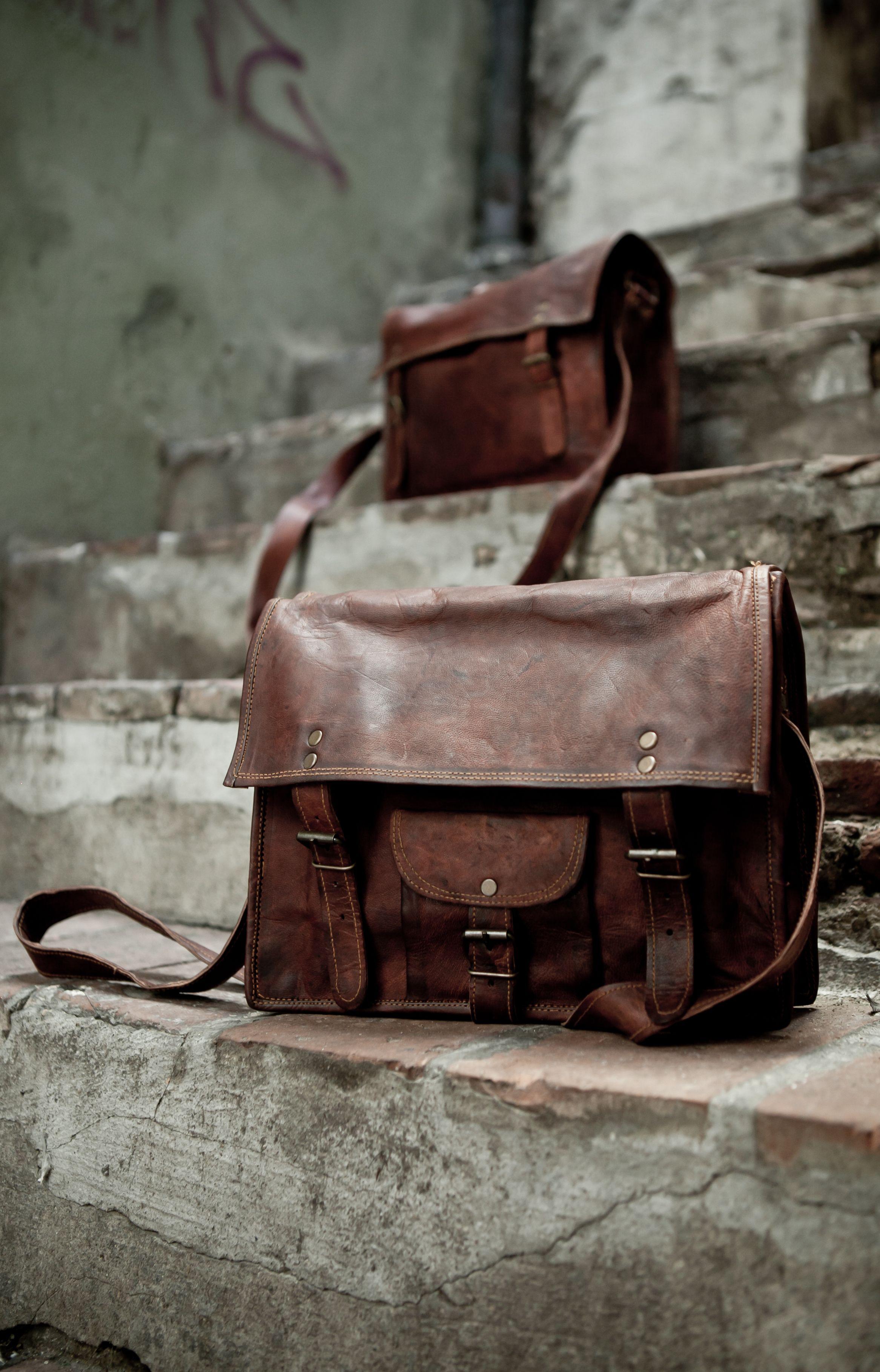 Handmade leather laptop bag satchels satchandfable.com