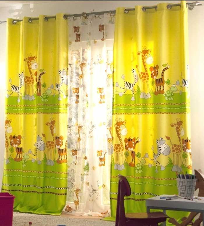 Kinderzimmer gardinen jungen gelb grün farbe mit tier motiv ...