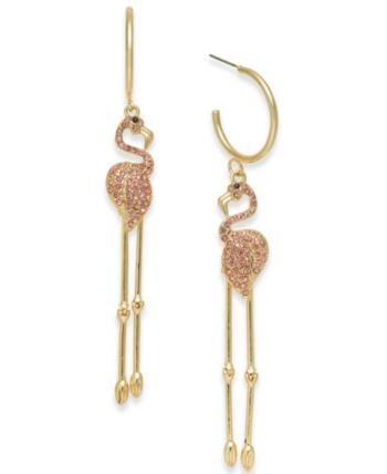 835d07652e11a Thalia Sodi Gold-Tone Pave Flamingo Linear Drop Earrings, Created ...