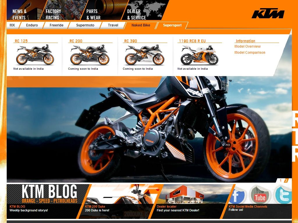 The ktm rc series of bikes will be launched in india soon the rc
