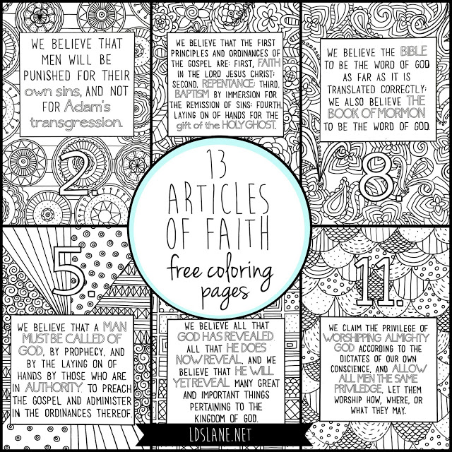 13 articles of faith coloring pages in   13 articles