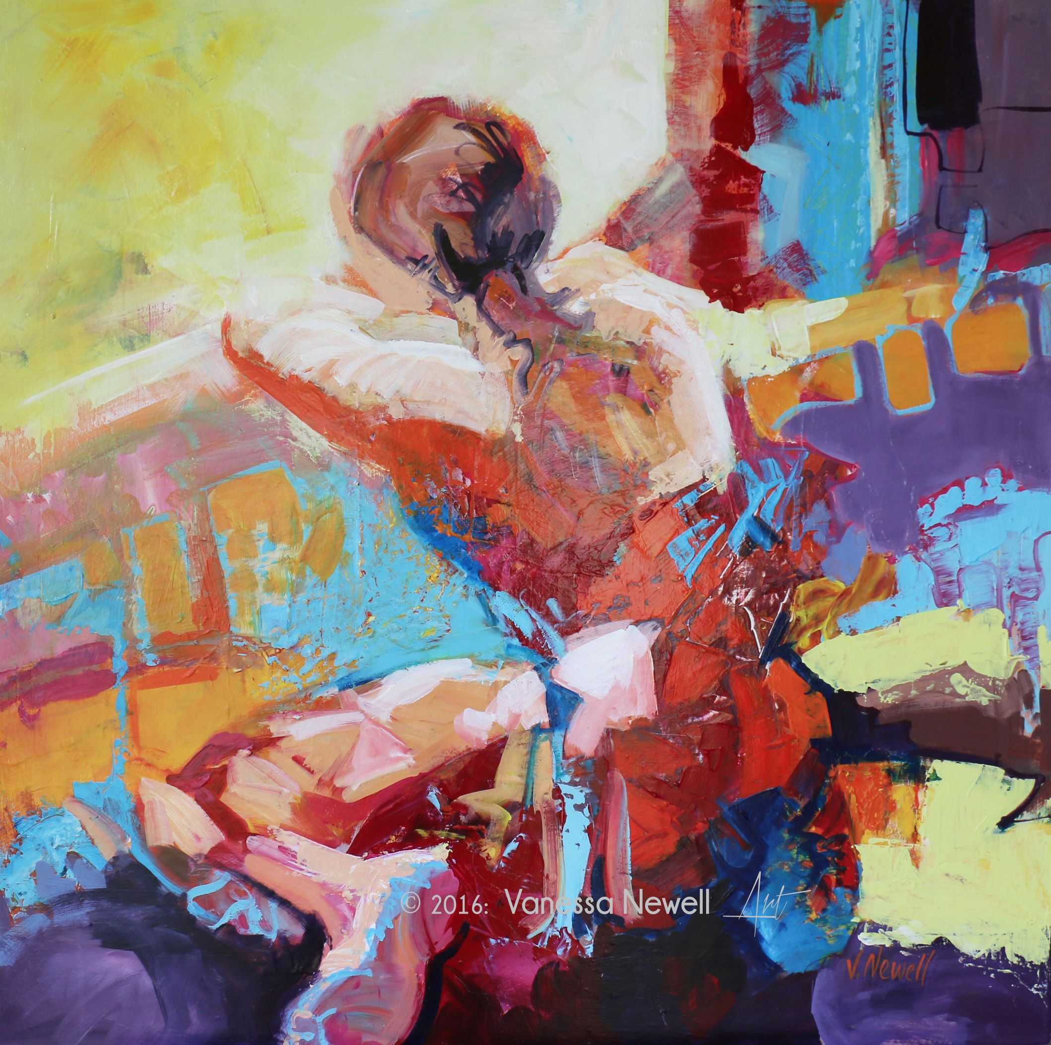 'Early riser' by Vanessa Newell, acrylic on canvas, 75 x 75cm. (acrylic painting figurative abstract contemporary)