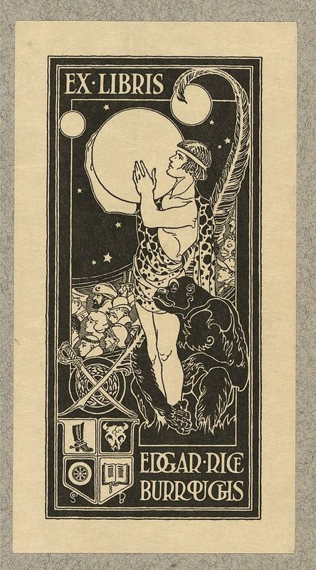 Edgar Rice buroughs book plate, circa 1914--Print shows Tarzan holding the planet Mars, surrounded by other characters from Burroughs' stories and symbols relating to the author's personal interests and career. Forms part of the Ruthven Deane Bookplate Collection.