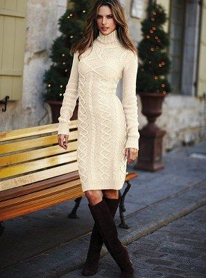 Beyaz Orgu Kislik Desenli Bayan Elbise Modelleri Sweater Dress Knitted Dress Outfit High Neck Sweater Dress