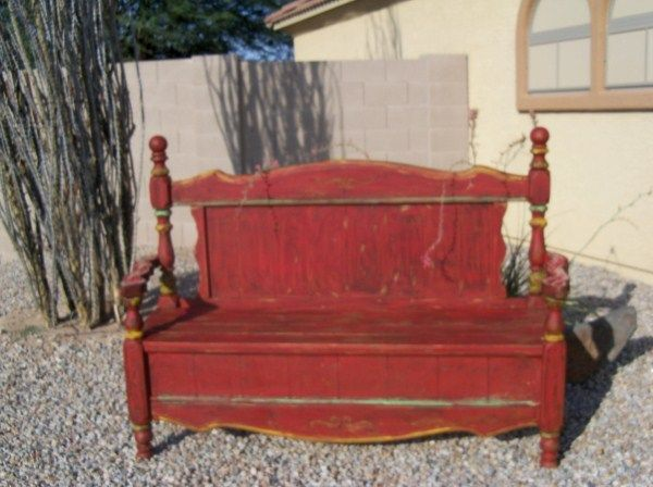 Beautiful rustic red bench with perfect green and yellow accents.  Hand carved and distressed. $299  Like us! facebook/agavephx.com  View us! agavephx.com