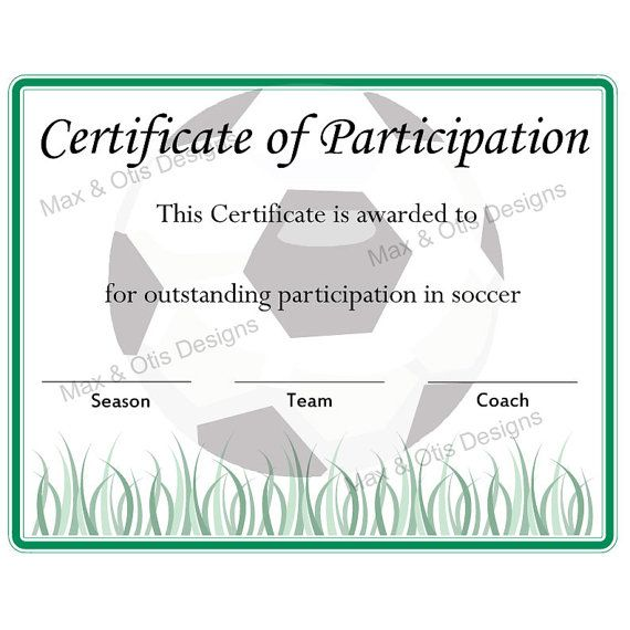 Free printable soccer participation certificate soccer for Soccer award certificate templates free