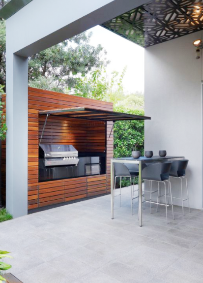 Outdoor Kitchen That Hides Storage And Other Appliance Modern Patio Modern Landscaping Design Outdo Outdoor Barbeque Diy Outdoor Kitchen Outdoor Bbq Area