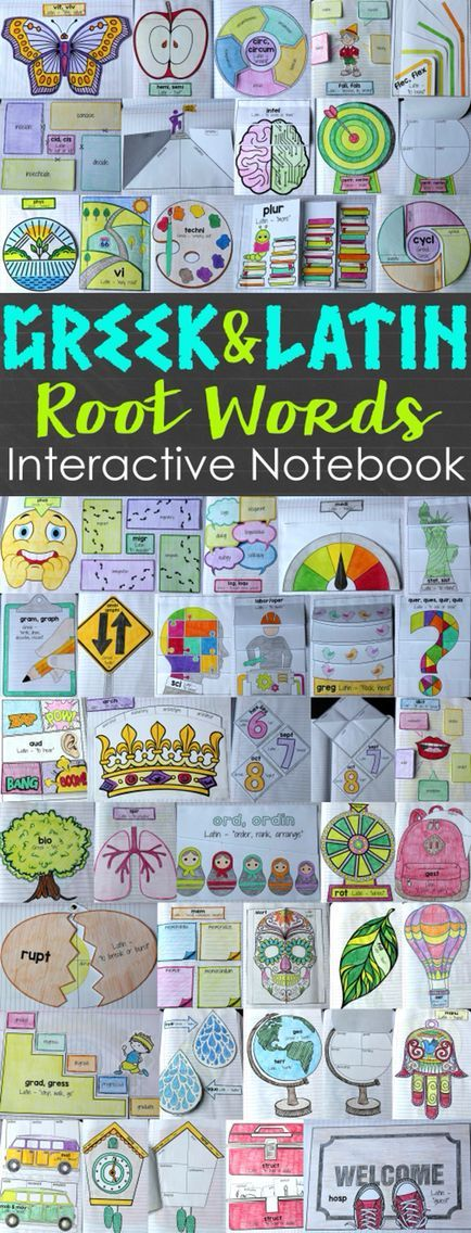 and Latin Roots Interactive Notebook Greek and Latin Root Words Interactive Notebook. Combines the instructional value of Greek and Latin roots with the active engagement of Interactive Notebooks. $Greek and Latin Root Words Interactive Notebook. Combines the instructional value of Greek and Latin roots with the active engagement of Interactive Notebooks. $