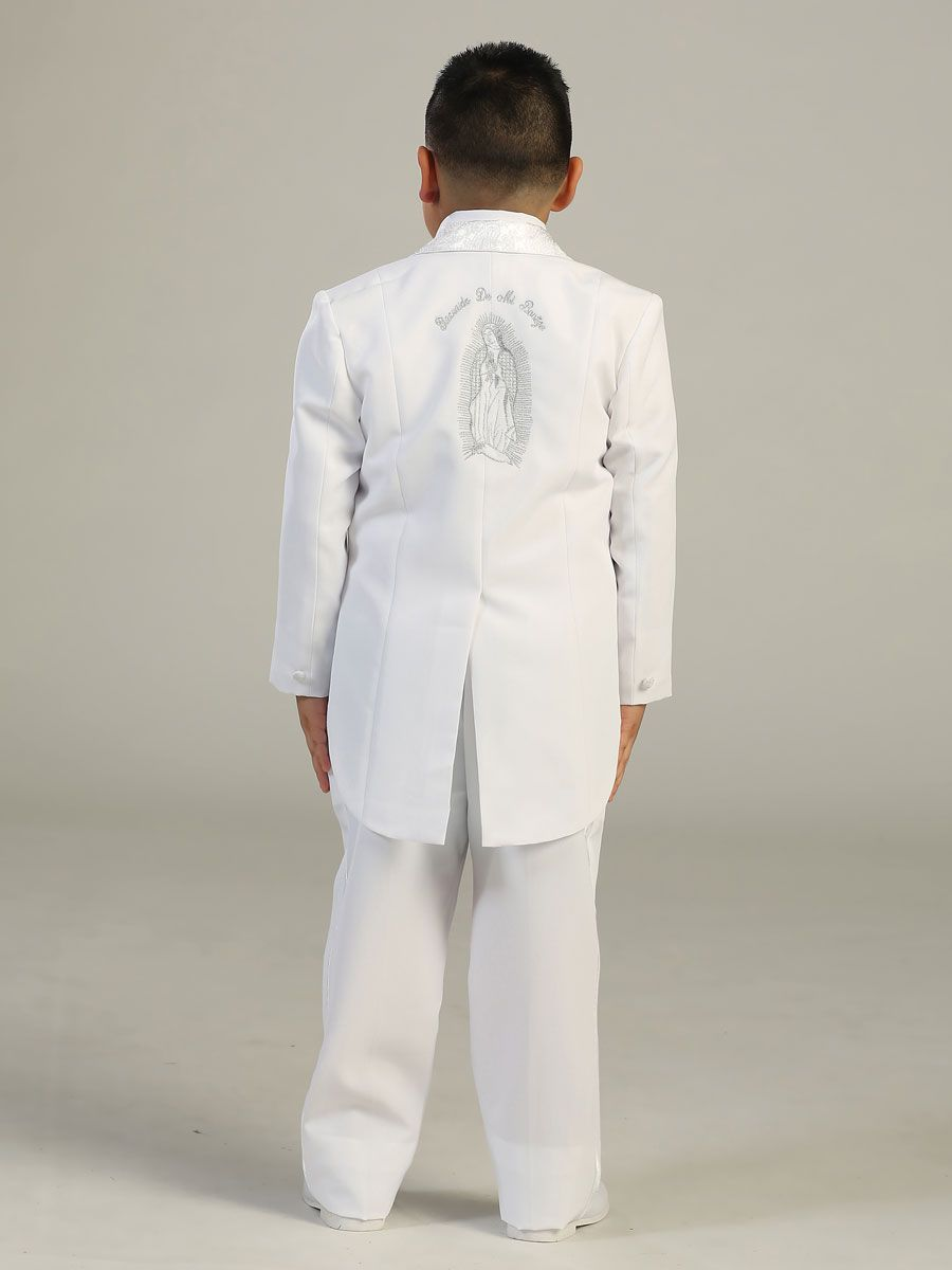 Boys Christening Baptism Outfit Baby Boy 5 Piece White Tuxedo Tail Suit