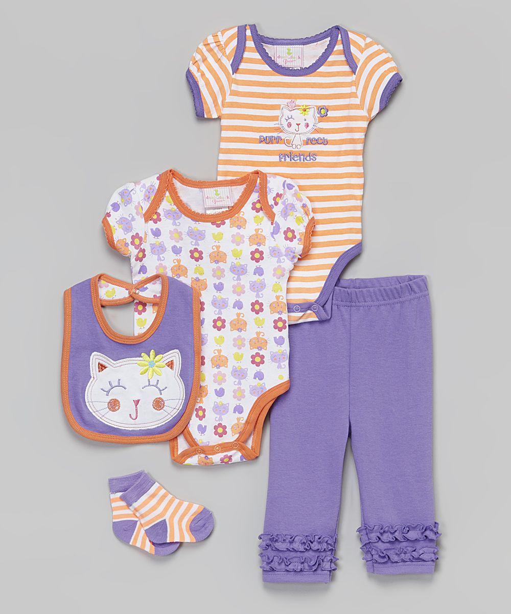 4e98df8d4 Duck Duck Goose Orange Kitty Five-Piece Layette Set | zulily | baby ...
