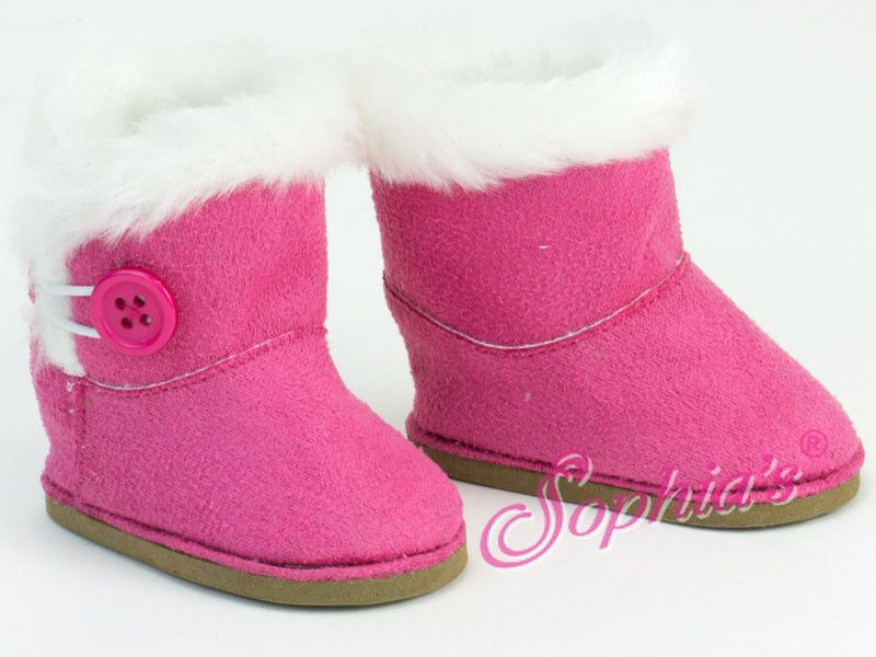 "Pink Boots Shoes with Fur Trim made for 18/"" American Girl Doll Clothes"