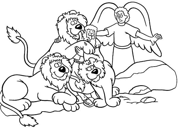 Daniel Saved From An Angel In Daniel And The Lions Den Coloring Page Daniel And The Lions Bible Coloring Pages Bible Coloring