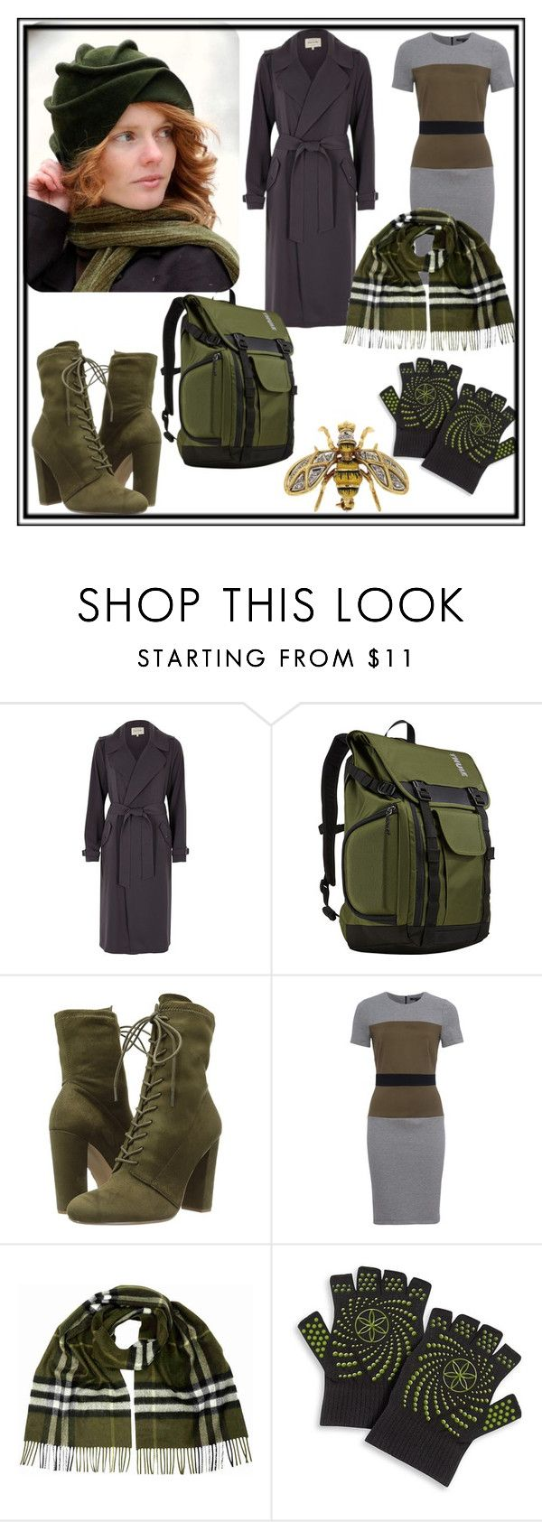 """""""Winter Hat"""" by karen-lynn-rigmarole ❤ liked on Polyvore featuring River Island, Thule, Steve Madden, French Connection, Burberry, Gaiam, winterhat and oliveandgrey"""
