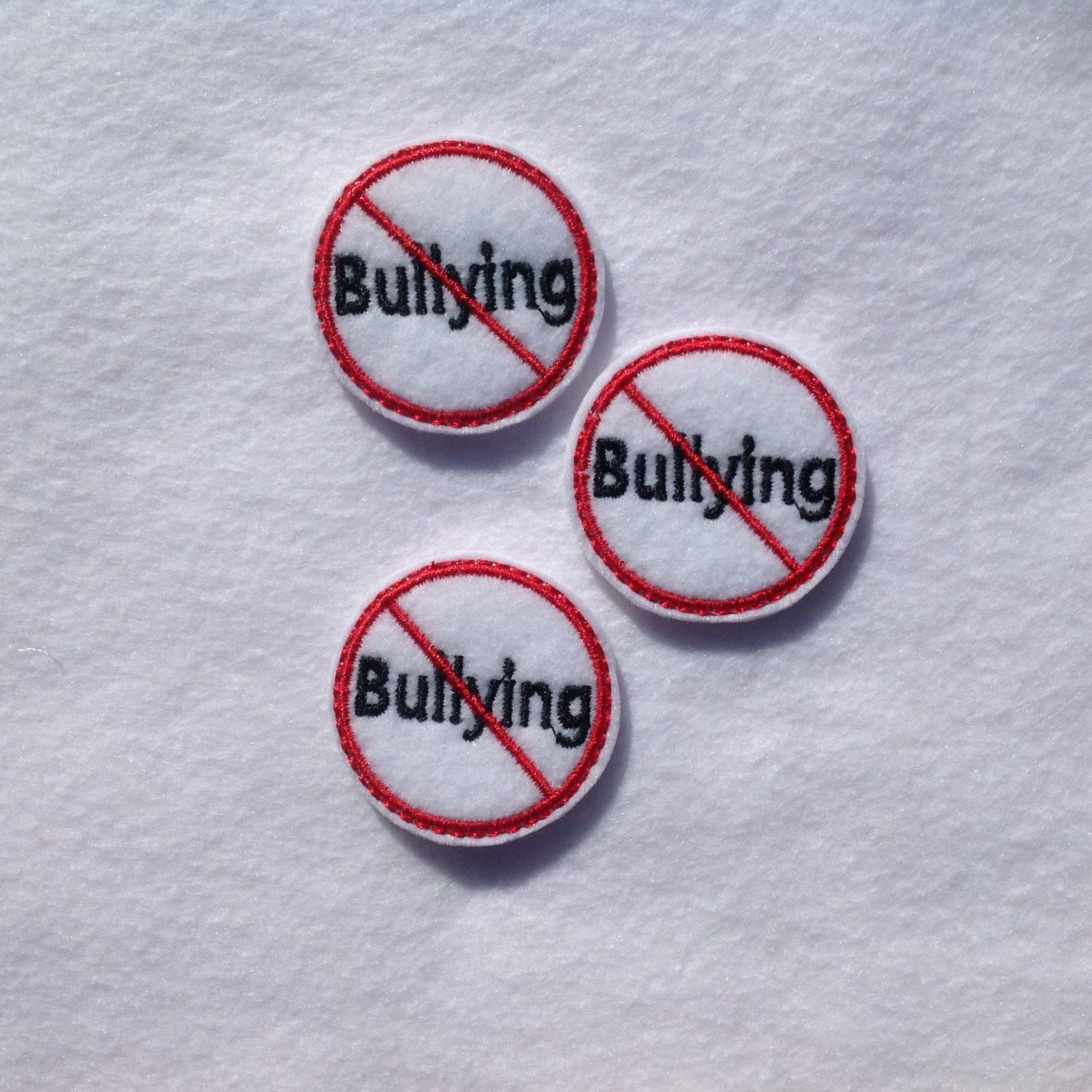 NO BULLYING Felt EMBELLISHMENT ~ Machine Embroidered Felt / Applique ~ Ready To Ship ~ Available Cut Or Uncut by CreationsByKG on Etsy