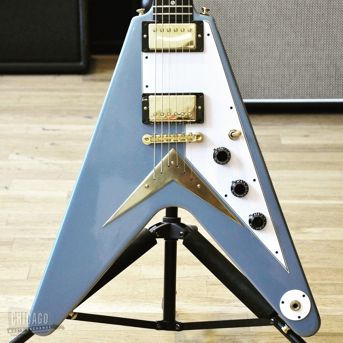 Custom Shop 58 Flying V Pelham Blue #gibsonguitars