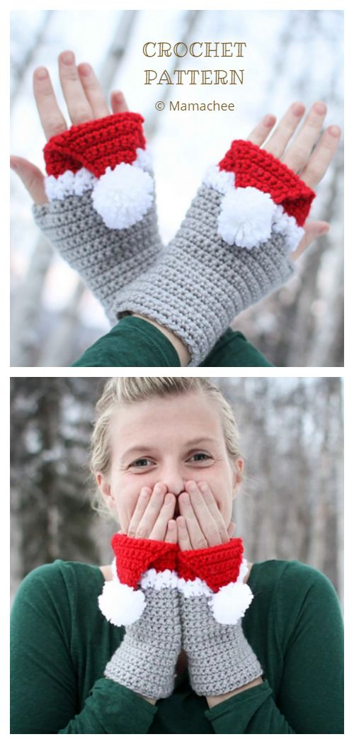 6 Christmas Fingerless Mittens Free Crochet Patterns & Paid #crochetdiy