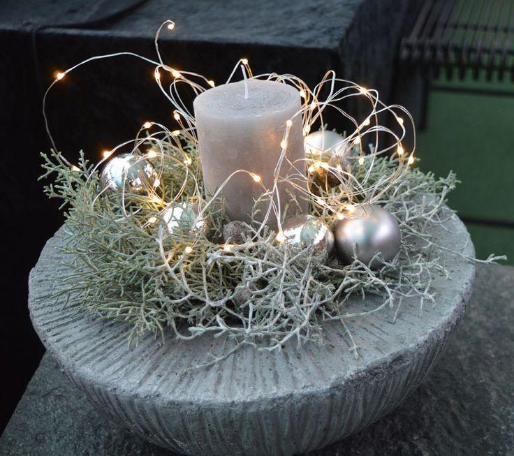 Weihnachtsdeko Betonschale Silber Led Kette Kerze