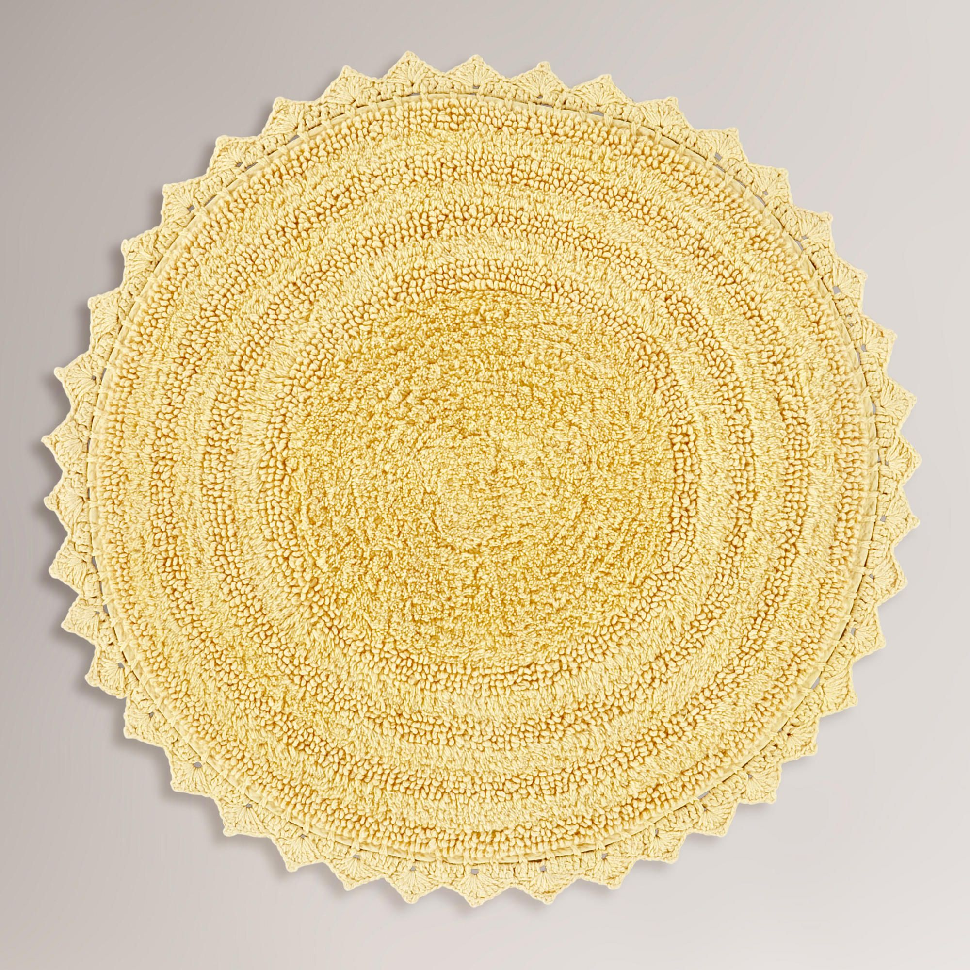 Elegant (I Also Like This Color) Yellow Round Bath Mat | World Market