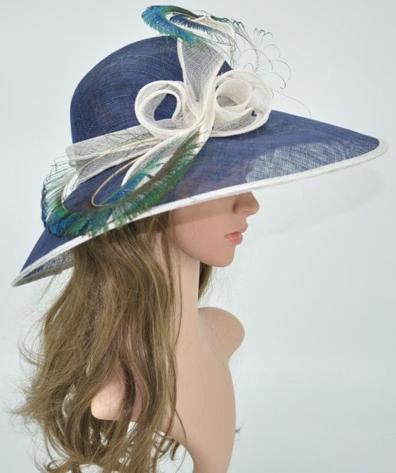 d10d890e5de Wide Brim Straw Kentucky Derby Hat Sinamay w Peacock Feathers Navy Blue  with White - 66
