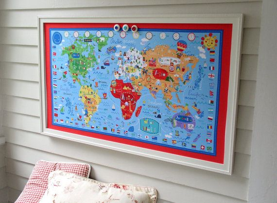 World map bulletin board kids magnetic memo board with red white world map bulletin board kids magnetic memo board with red white and blue fabric map gumiabroncs Image collections