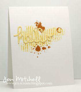 "handmade greeting card ... clean and simple ... sunny yellow with a splat of red on white .. grunge stamping .,. luv the die cut ""hello"" on top .... like this card!!"