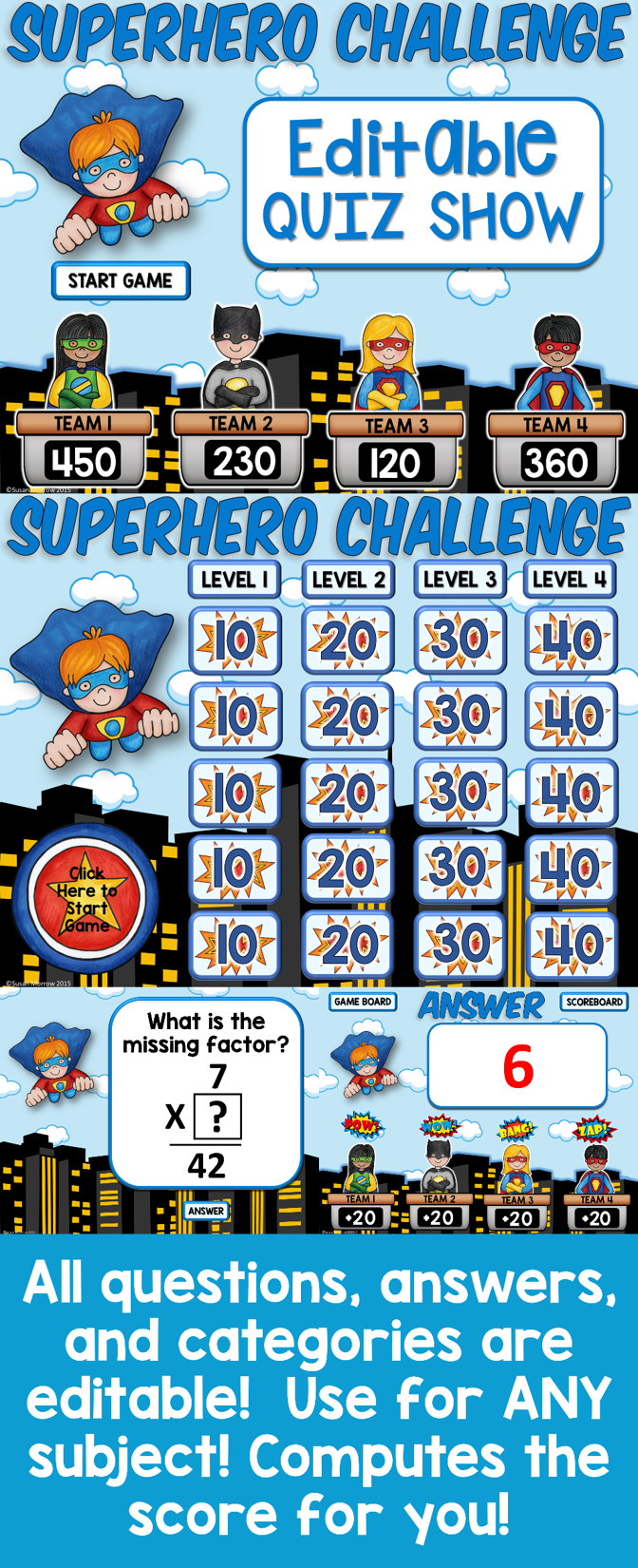 multiplication game show an editable multiplication review