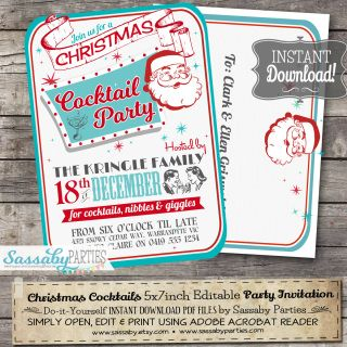 Retro christmas cocktail party invitation aqua christmas cocktail merry christmas its a fun retro style christmas cocktail party invitation that you can personalise solutioingenieria Image collections