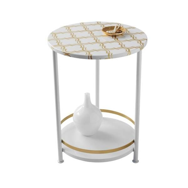 Product Image For Two Tier Gold Frette Round Table 1 Out Of 2 Side Tables Bedroom Folding Storage Ottoman Dining Table Chairs