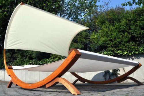 Garten Lounge Liege Doppelliege Sonnenliege Gartenliege Holz Hartholz Gestell Gartenliege Gartenliege Holz Sonnenliege