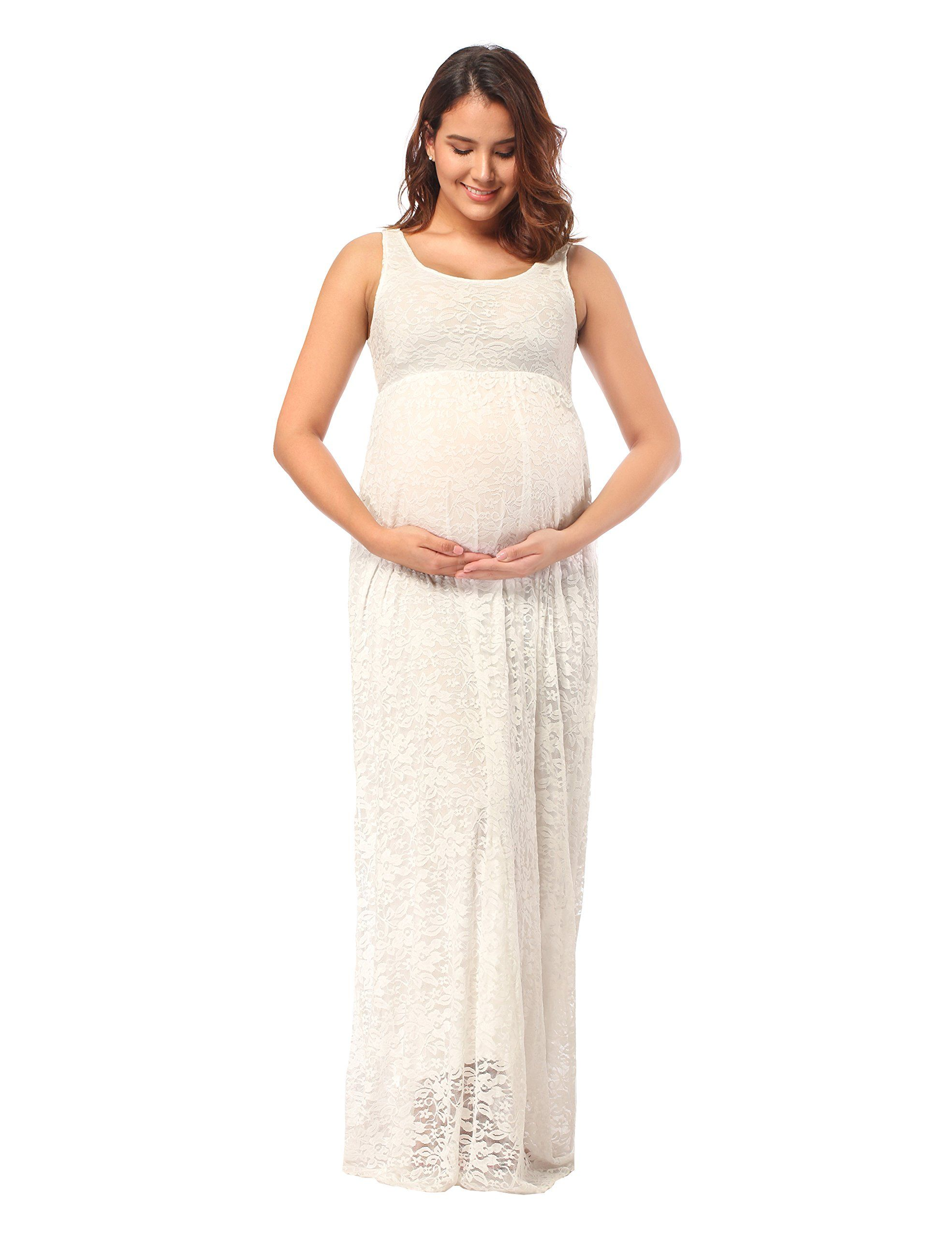 c766d31055ab5 Maternity Outfits - dressy maternity dresses : JustVH Womens Maternity  Sleeveless Long Length Lace Maxi Photography Dress * To check out better  for this ...