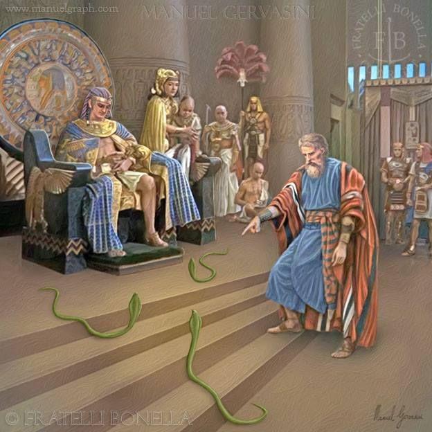 Moses before Pharaoh snakes - art by Manuel Gervasini ...