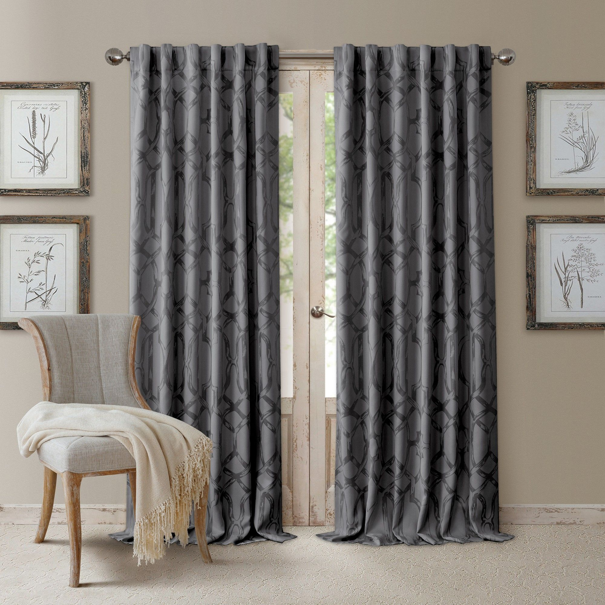 Darla Tonal Blackout Window Curtain Panel 52 X 108 Dark Gray