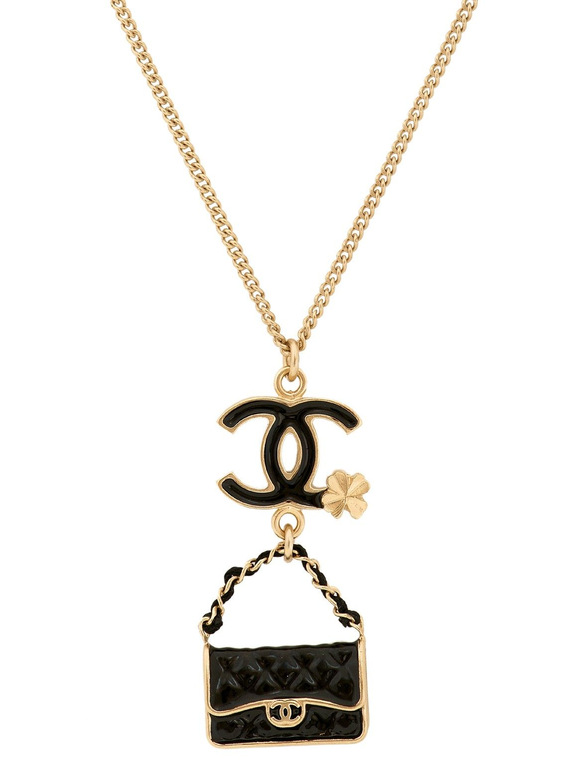 Vintage chanel clover and quilted black handbag pendant necklace at