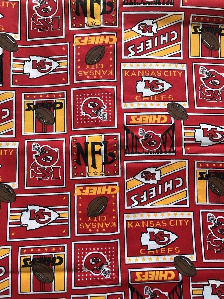 Kansas City Chiefs Fabric 2 Yards NFL Football Sports Team 1995 Vintage 90s   2c2401d08