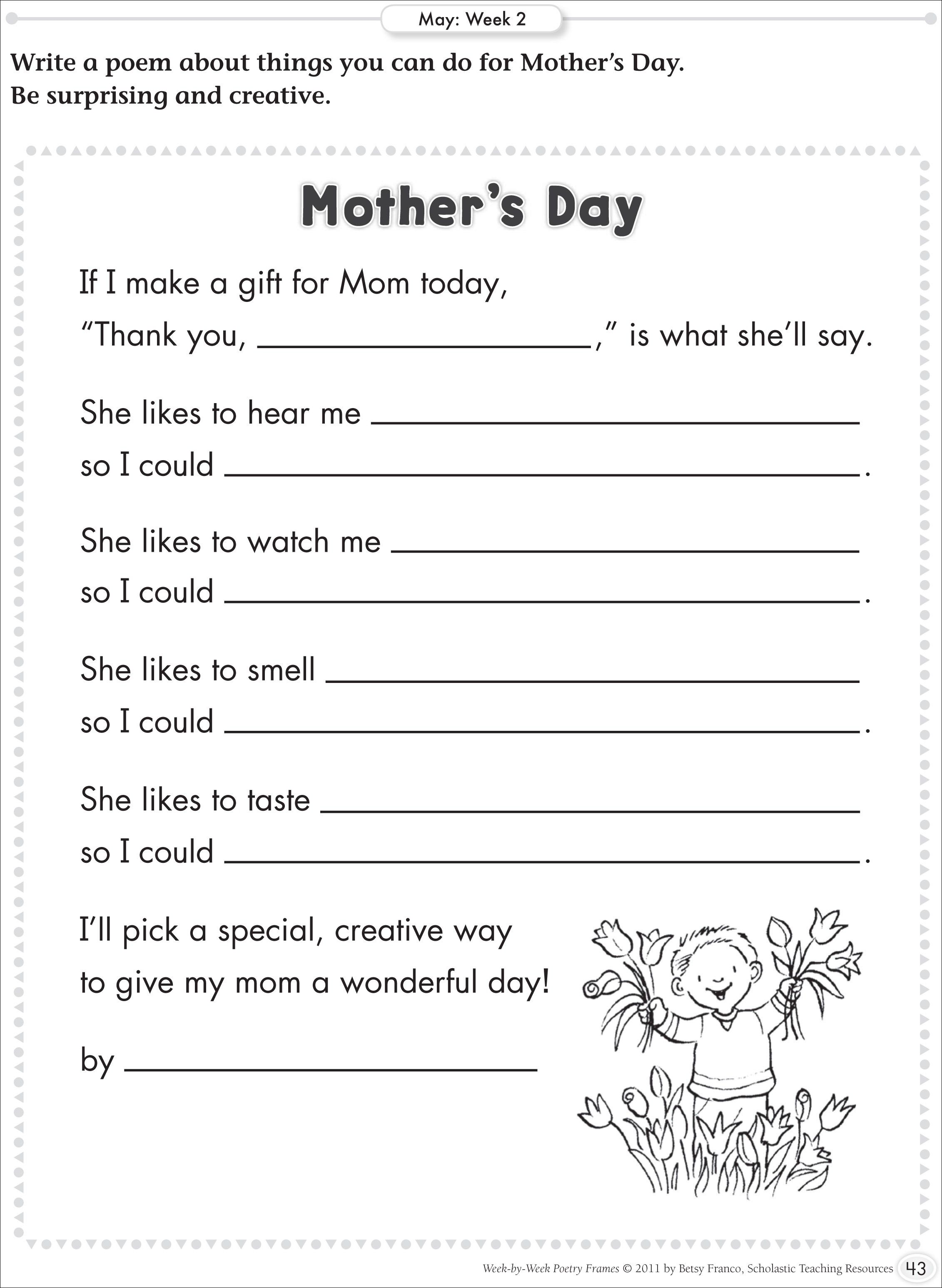 mother 39 s day writing prompts google search loving to learn mothers day poems school. Black Bedroom Furniture Sets. Home Design Ideas