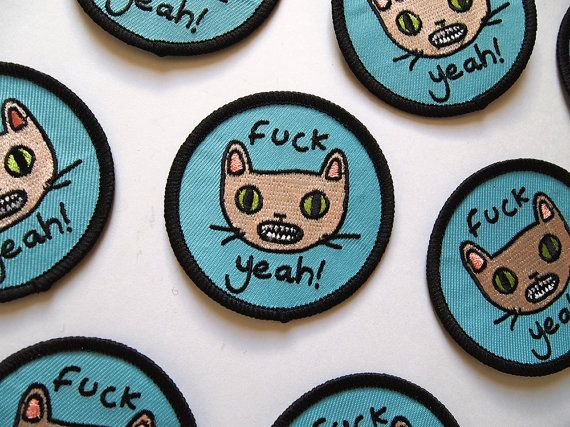 Fck Yeah Cat embroidered patch Iron on patch от ilikeCATSshop