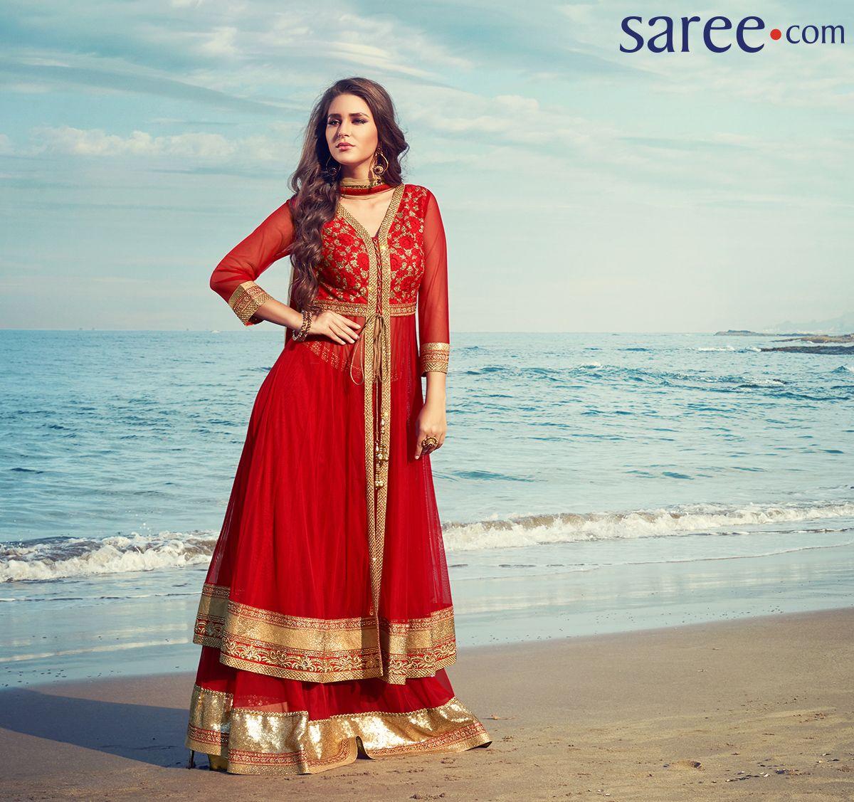 Red Net Suit with Zari Work | Salwar Kameez | Pinterest | Salwar dress