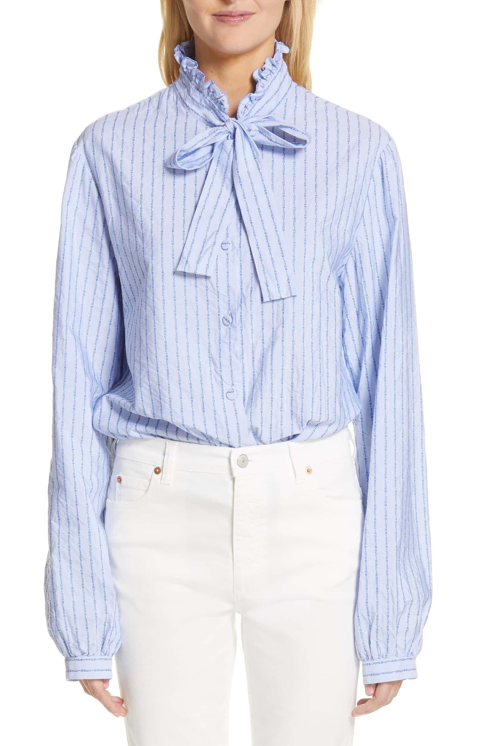 b46ffd75a GUCCI Logo Stripe Tie Neck Blouse, Main, color, 4159 LIGHT SKY BLUE ...