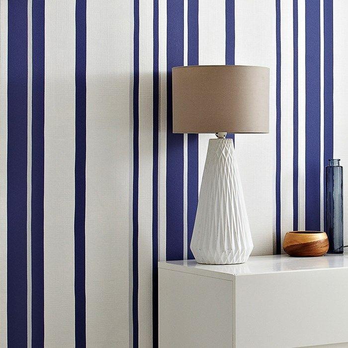 Hoppen Stripe White Prussian Blue Striped Wallpaper White Textured Wallpaper Striped Walls Vertical Blue striped wallpaper for bathrooms